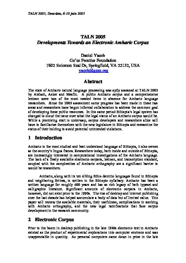 PDF) TALN 2005 Developments Towards an Electronic Amharic Corpus