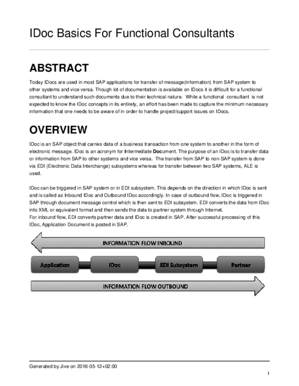 PDF) IDoc Basics For Functional Consultants | Sudipta