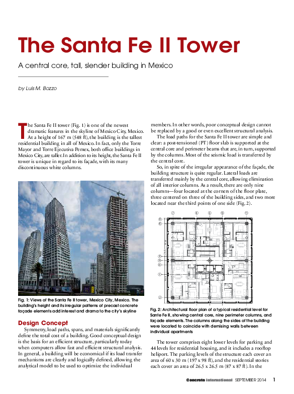 PDF) The Santa Fe II Tower A central core, tall, slender