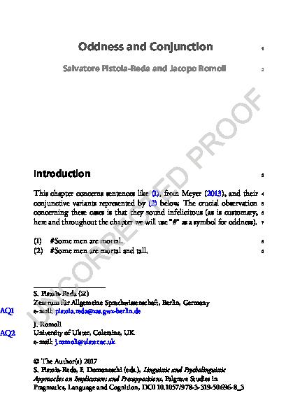 PDF) Oddness and conjunction | jacopo Romoli - Academia edu