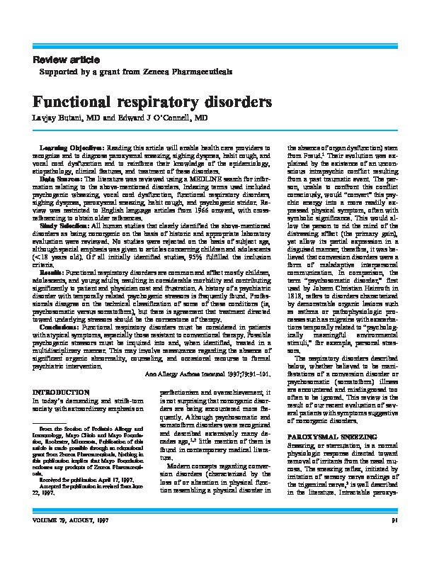 PDF) Functional Respiratory Disorders | Lavjay Butani and