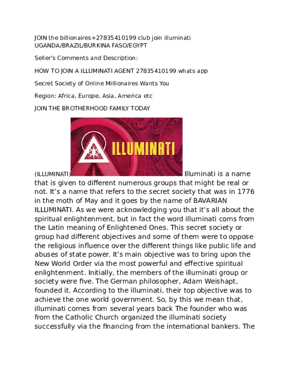 DOC) Join the billionaires club illuminati and get rich power