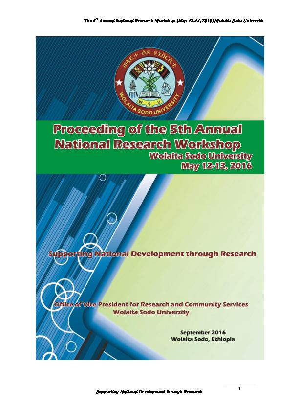 PDF) Wolaita Sodo University , Proceeding of the 5th