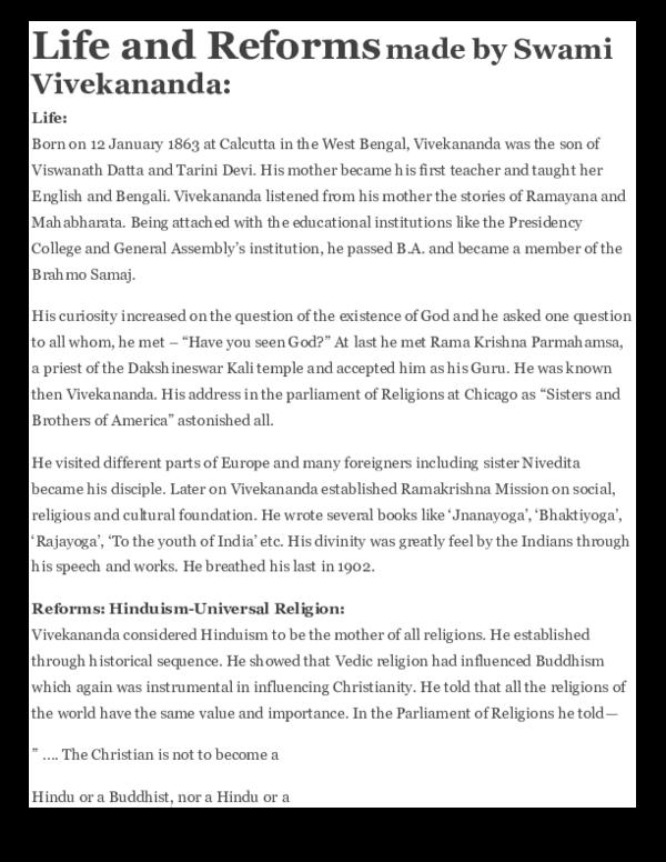 Pdf Life And Reforms Made By Swami Vivekananda Shubham Srivastava Academia Edu