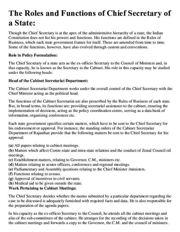 Pdf The Roles And Functions Of Chief Secretary Of A State