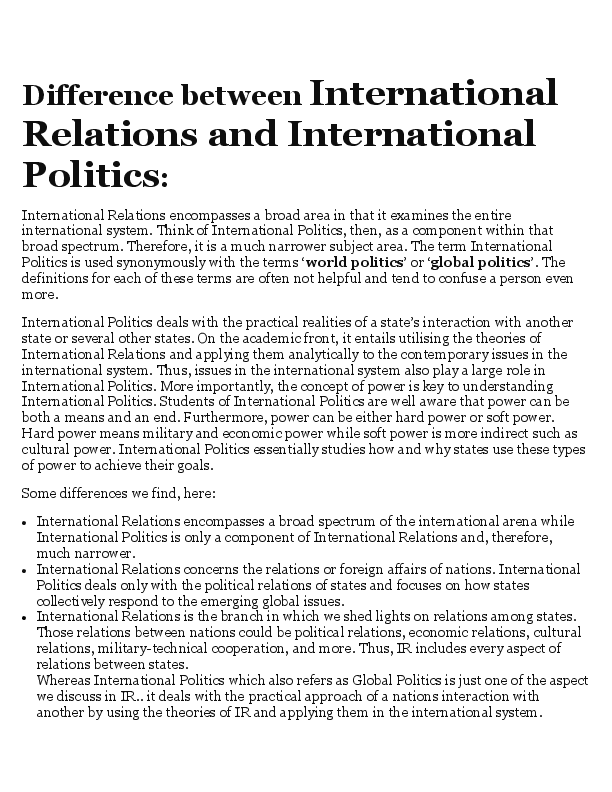PDF) Difference between International Relations and