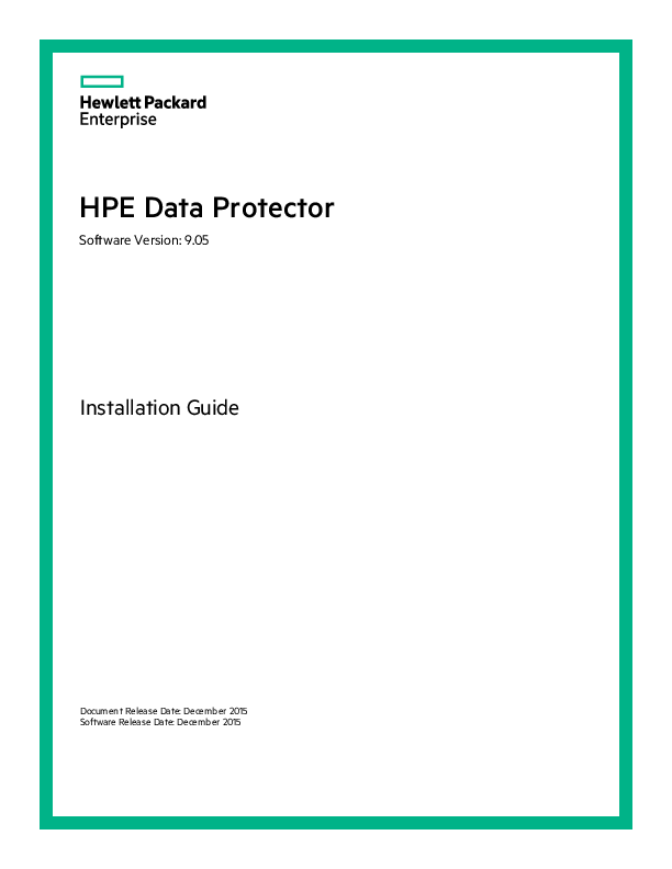 PDF) HPE Data Protector Installation Guide | Aissam Lorak