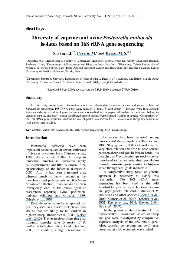 PDF) Diversity of caprine and ovine Pasteurella multocida