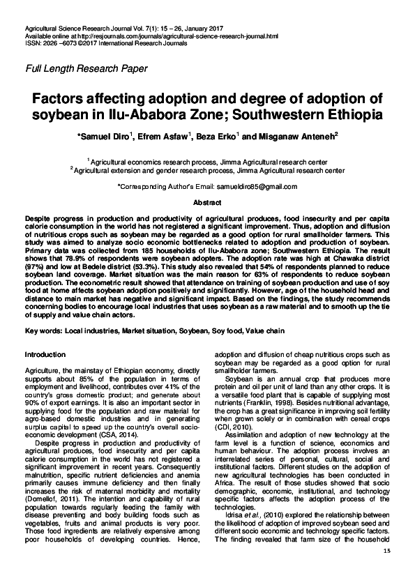 PDF) Factors affecting adoption and degree of adoption of soybean in