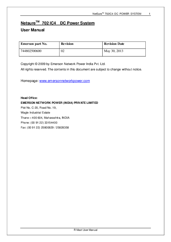 PDF) NetSure TM 702IC4 DC POWER SYSTEM 1 R Mast User Manual