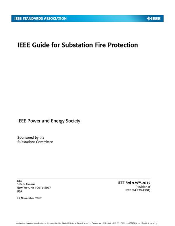 PDF) IEEE Guide for Substation Fire Protection IEEE Power and Energy