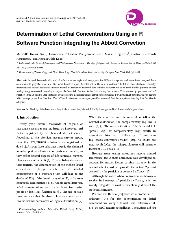 PDF) Determination of Lethal Concentrations Using an R