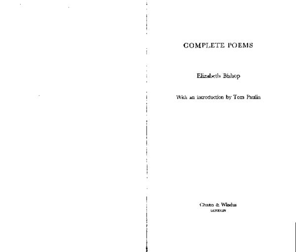 Pdf I Complete Poems Elizabeth Bishop With An Introduction