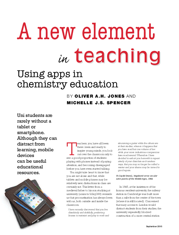 PDF) A new element in teaching: Using apps in chemistry