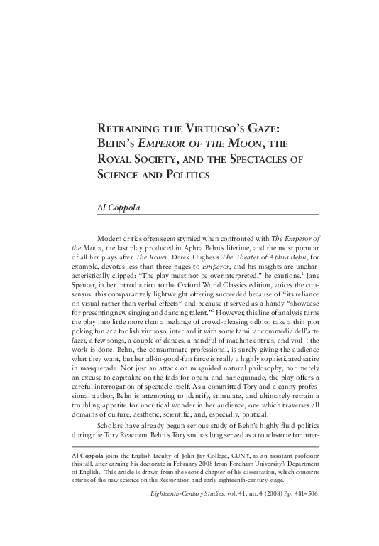 Pdf Retraining The Virtuoso S Gaze Behn S Emperor Of The Moon The Royal Society And The Spectacles Of Science And Politics Al Coppola Academia Edu