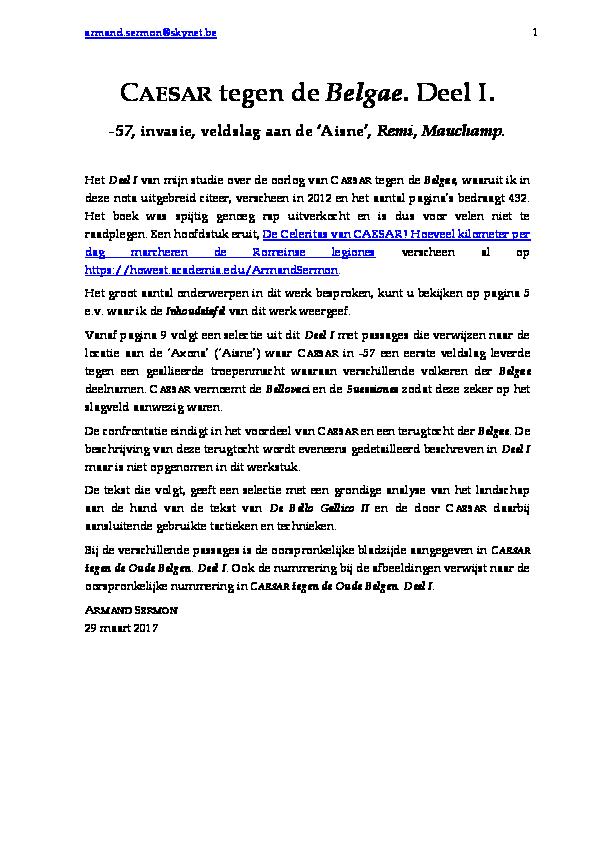 PDF) Deel I Caesar vs Belgae Oude Belgen Invasie, Remi