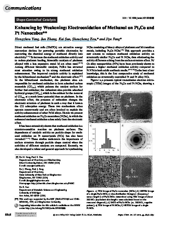 PDF) Enhancing by Weakening: Electrooxidation of Methanol on