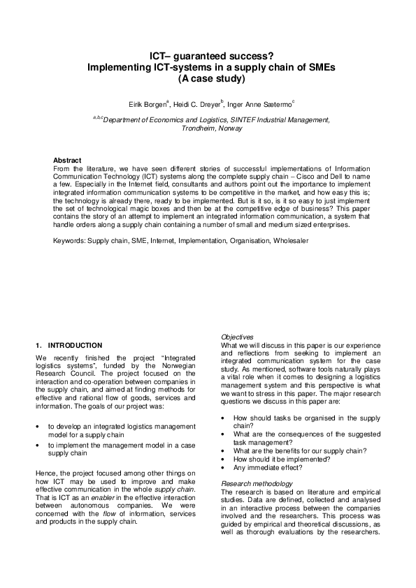 PDF) ICT guaranteed success? Implementing ICTsystems in a supply