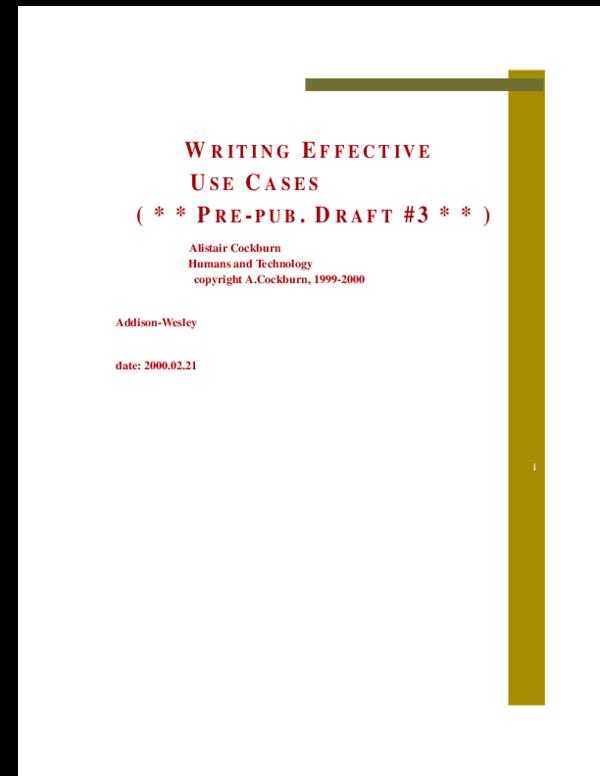 PDF) Alistair Cockburn Writing Effective Use Cases | rodica
