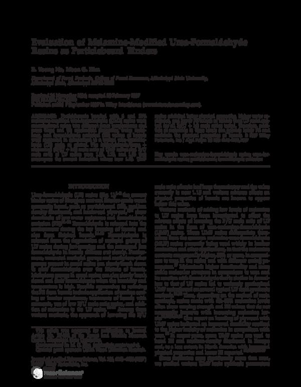 PDF) Evaluation of Melamine-Modified Urea-Formaldehyde Resins as
