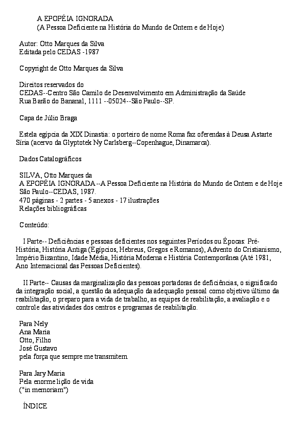 A EPOPÉIA IGNORADA (A Pessoa Deficiente na História do Mundo de ... d9359226f9e