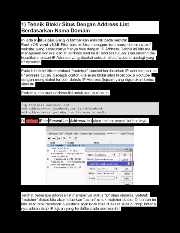 Doc Tehnik Blokir Situs Dengan Address List Berdasarkan