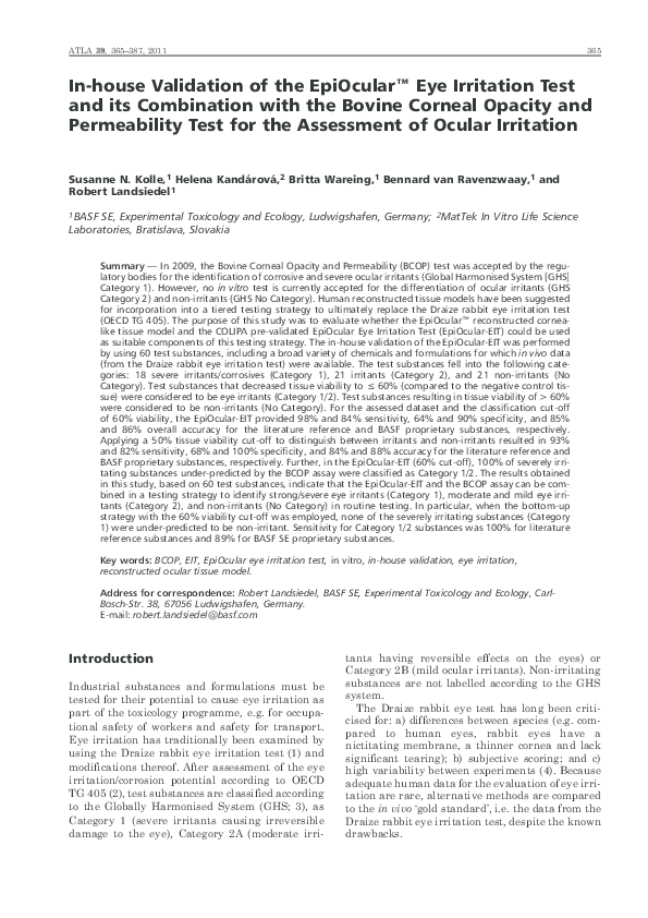 PDF) In-house validation of the EpiOcular(TM) eye irritation