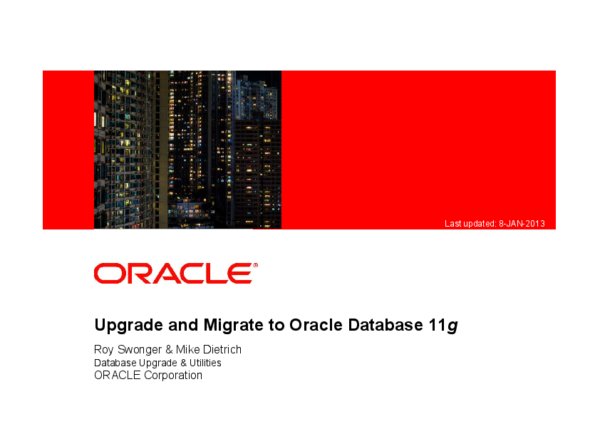 PDF) Upgrade and Migrate to Oracle Database 11g | Ceren