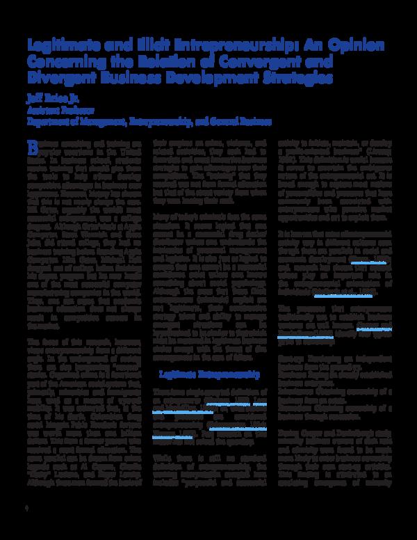 PDF) Legitimate and Illicit Entrepreneurship: An Opinion