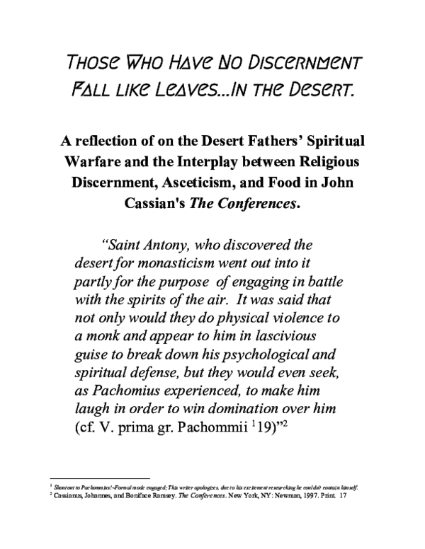 PDF) A reflection of on the Desert Fathers' Spiritual Warfare and