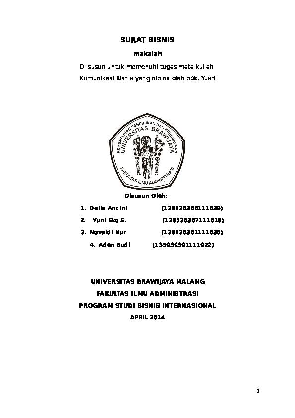 Doc Surat Bisnis Novaldi Nur Academiaedu