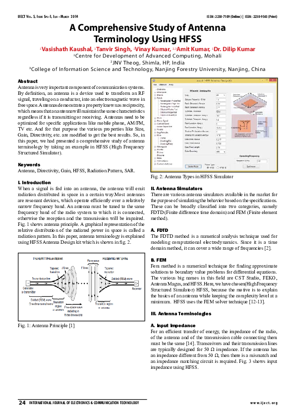 PDF) A Comprehensive Study of Antenna Terminology Using HFSS | Abir