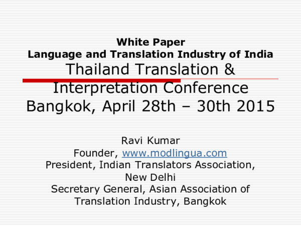 PDF) Language and Translation Industry of India | Ravi Kumar