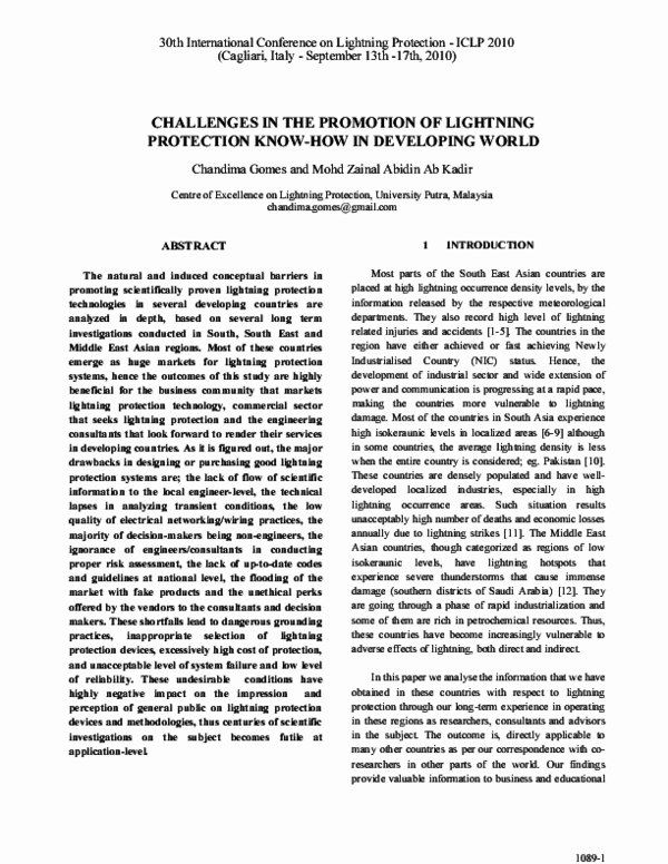 PDF) CHALLENGES IN THE PROMOTION OF LIGHTNING PROTECTION KNOW-HOW IN
