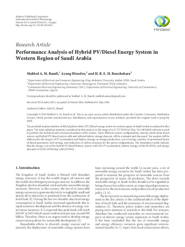 PDF) Performance analysis of hybrid PV/diesel energy system