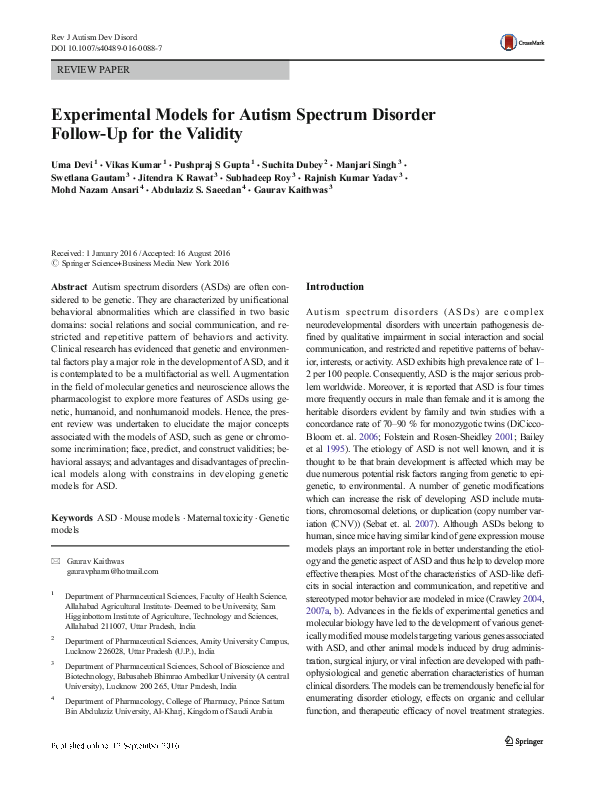 Asd Validity >> Experimental Models For Autism Spectrum Disorder Follow Up For The
