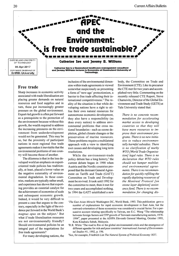 PDF) APEC and the Environment: Is Free Trade Sustainable