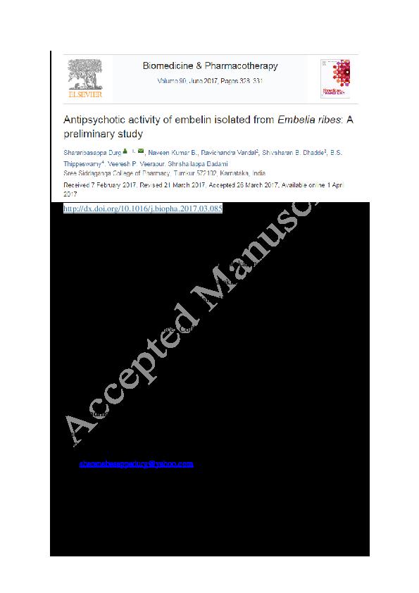 PDF) Antipsychotic activity of embelin isolated from Embelia