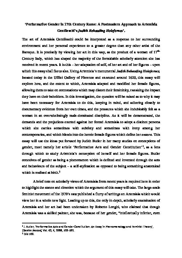 Pdf Artemisia Gentileschi Performative Gender In 17th