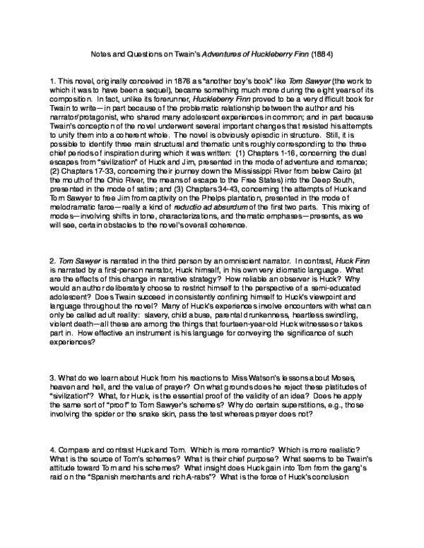 Pdf Topics Questions On Twain S Adventures Of Huckleberry