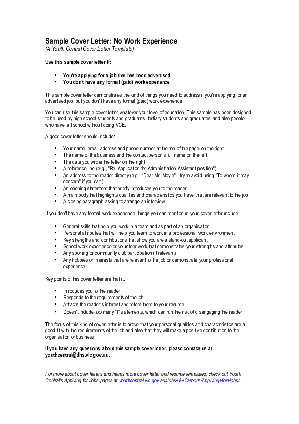 PDF) Sample Cover Letter: No Work Experience | madihah marz123