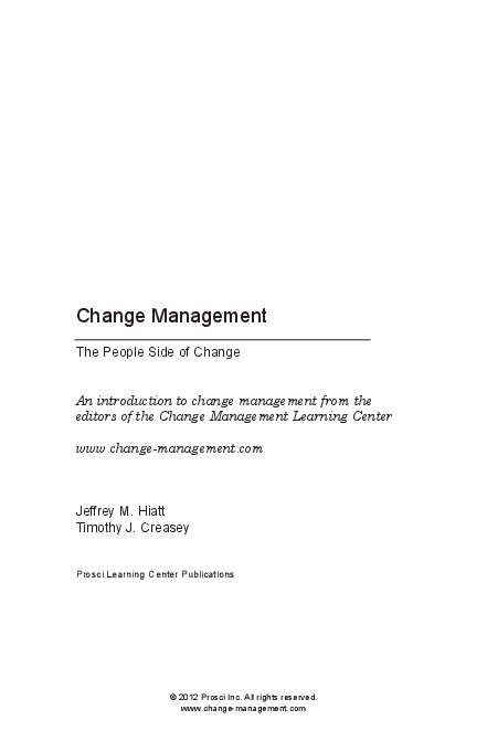 PDF) Change Management The People Side of Change An