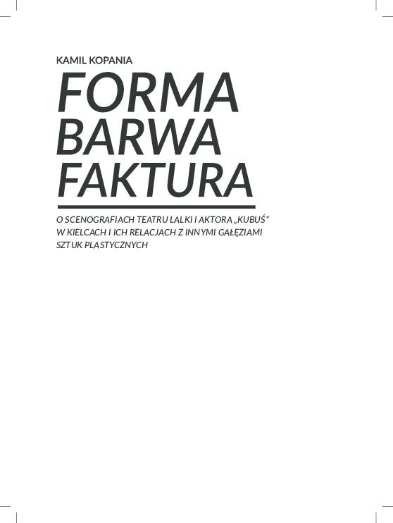Pdf Forma Barwa Faktura O Scenografiach Teatru Lalki I