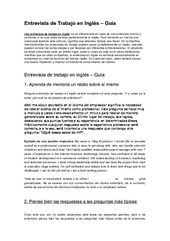 Doc Entrevista De Trabajo En Ingles Ivan Leija Academia Edu