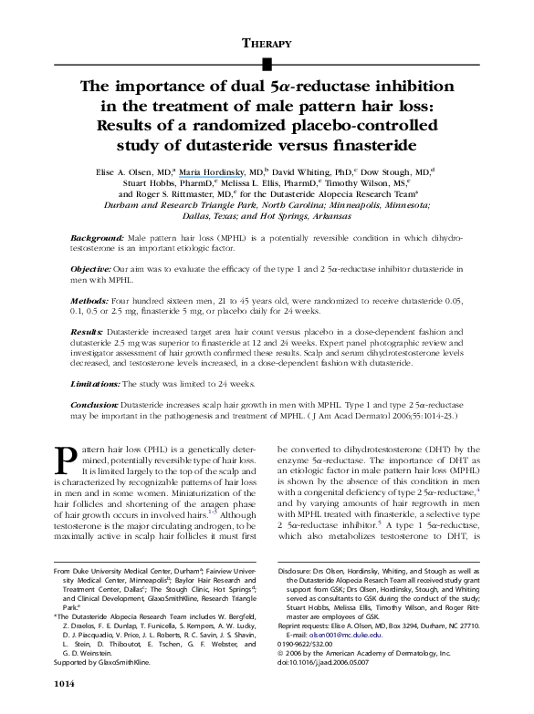 Pdf The Importance Of Dual 5a Reductase Inhibition In The Treatment Of Male Pattern Hair Loss Results Of A Randomized Placebo Controlled Study Of Dutasteride Versus Finasteride Dow Stough Academia Edu