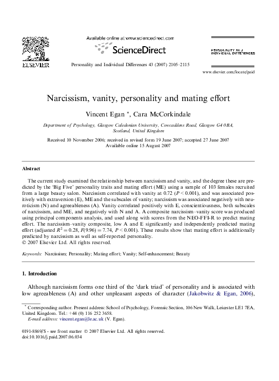 PDF) Narcissism and vanity | Vincent Egan - Academia edu