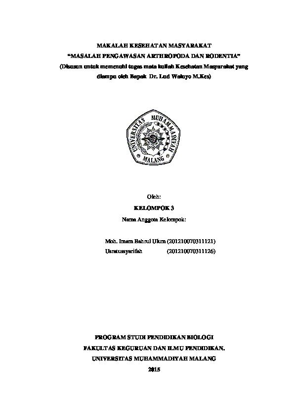 Pdf Makalah Kesehatan Masyarakat Masalah Pengawasan Arthropoda Dan Rodentia Pdf Imam Bachrul Academia Edu