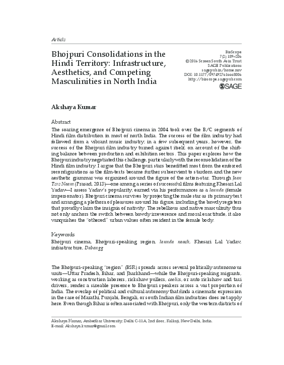 PDF) Bhojpuri Consolidations in the Hindi Territory