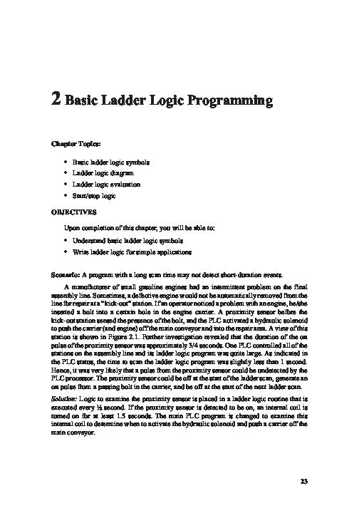 PDF) 2 Basic Ladder Logic Programming @BULLET Basic ladder