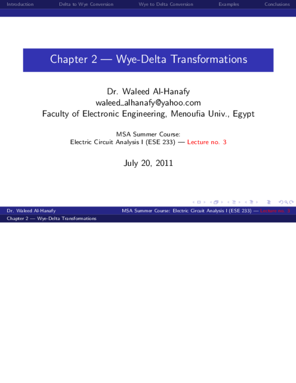 PDF) Chapter 2 — Wye-Delta Transformations | Negesse mossie